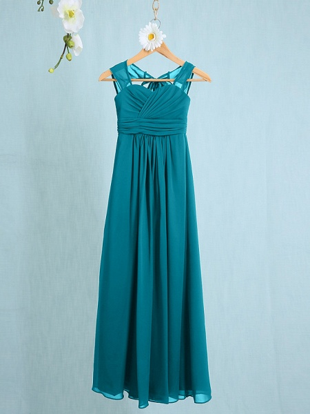 Sheath / Column Straps Ankle Length Chiffon Junior Bridesmaid Dress With Ruched / Natural_24