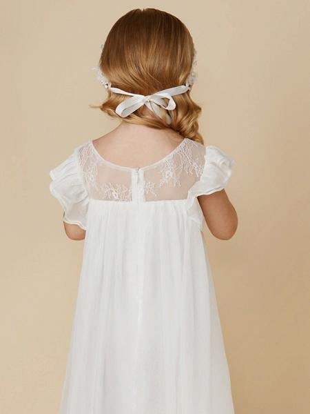 Sheath / Column Ankle Length Chiffon / Lace Short Sleeve Jewel Neck With Pleats_7