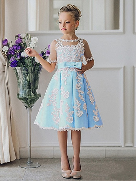 Princess / Ball Gown Knee Length Wedding / Party Flower Girl Dresses - Lace Short Sleeve Jewel Neck With Bow(S) / Appliques_4