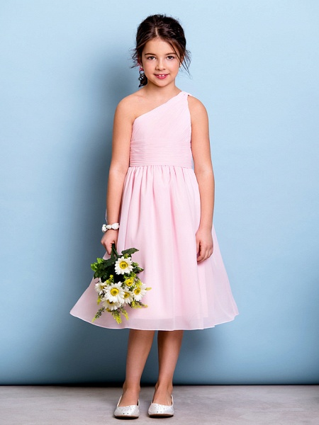 A-Line One Shoulder Knee Length Chiffon Junior Bridesmaid Dress With Ruched / Draping / Side Draping / Natural_1