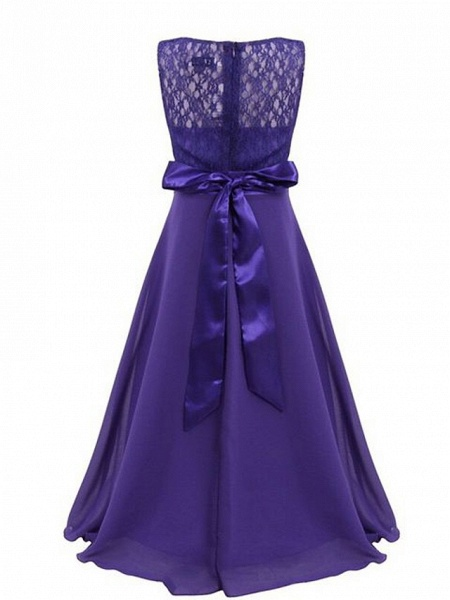 A-Line Floor Length Wedding / Party Flower Girl Dresses - Chiffon / Lace Sleeveless Jewel Neck With Sash / Ribbon_2