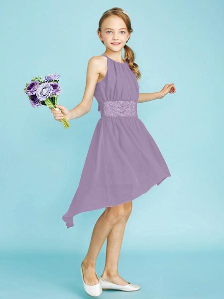 Sheath / Column Jewel Neck Asymmetrical Chiffon Junior Bridesmaid Dress With Sequin / Natural_33