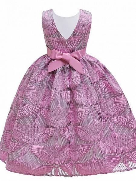 Princess Round Floor Length Cotton Junior Bridesmaid Dress With Bow(S)_6