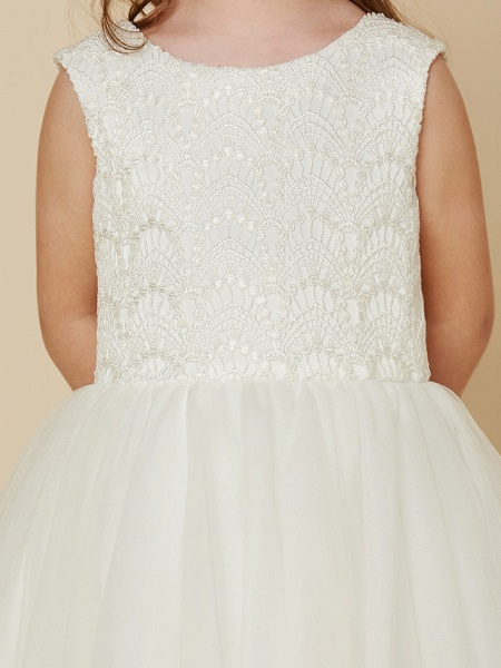 Princess Knee Length Wedding / First Communion Flower Girl Dresses - Lace / Satin / Tulle Sleeveless Jewel Neck With Lace_6