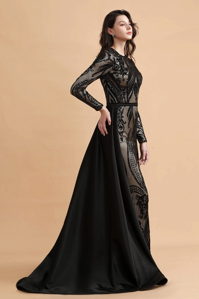 Luxury Black Round neck Sequined Detachable Overskirt Prom Dress_5