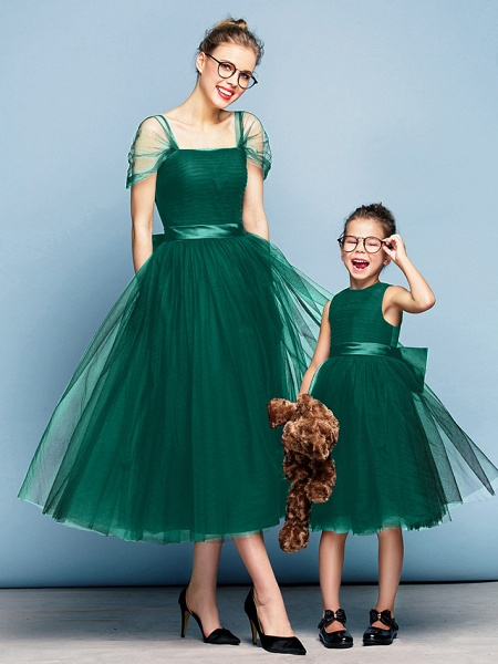 Princess Tea Length Party / Prom / Formal Evening Flower Girl Dresses - Tulle Short Sleeve Square Neck With Bow(S) / Ruched / Elegant_25