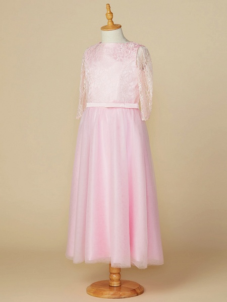 A-Line Jewel Neck Tea Length Lace / Tulle Junior Bridesmaid Dress With Bow(S) / Wedding Party_3