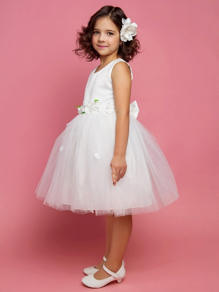 Princess / Ball Gown / A-Line Knee Length First Communion / Wedding Party Lace / Organza / Satin Sleeveless Scoop Neck With Bow(S) / Draping / Flower / Spring / Summer / Fall_2