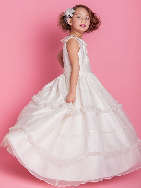 Ball Gown / A-Line Floor Length First Communion / Wedding Party Organza / Satin Sleeveless Jewel Neck With Buttons / Ruched / Ruffles / Spring / Fall / Winter_1
