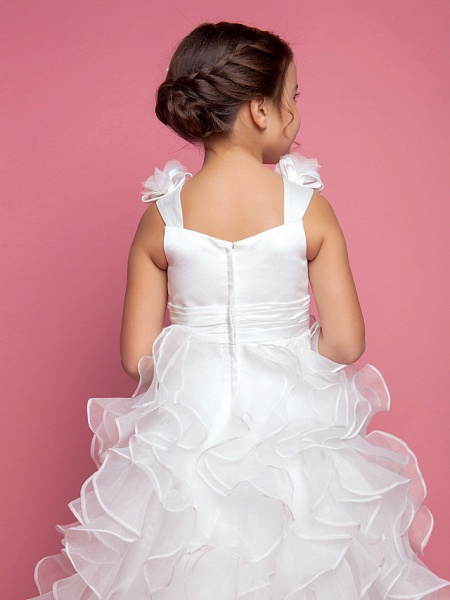 Princess / A-Line Floor Length Organza / Satin Sleeveless Straps With Sash / Ribbon / Ruched / Cascading Ruffles_5