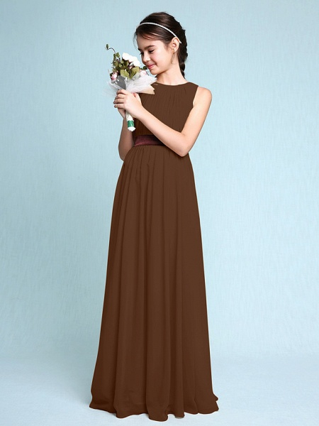 Sheath / Column Scoop Neck Floor Length Chiffon Junior Bridesmaid Dress With Draping / Natural_24