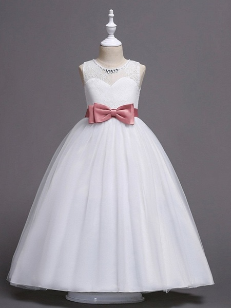 Princess / Ball Gown Floor Length Wedding / Party Flower Girl Dresses - Tulle Sleeveless Jewel Neck With Bow(S) / Beading / Embroidery_2