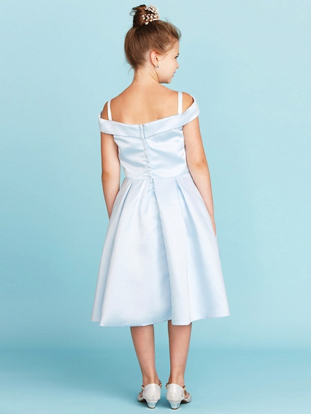 Princess / A-Line Off Shoulder Tea Length Satin Junior Bridesmaid Dress With Pleats_2