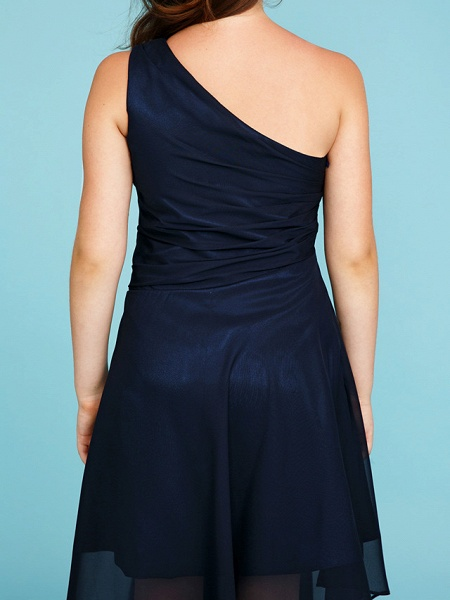 A-Line One Shoulder Asymmetrical Chiffon Junior Bridesmaid Dress With Side Draping / Wedding Party_8