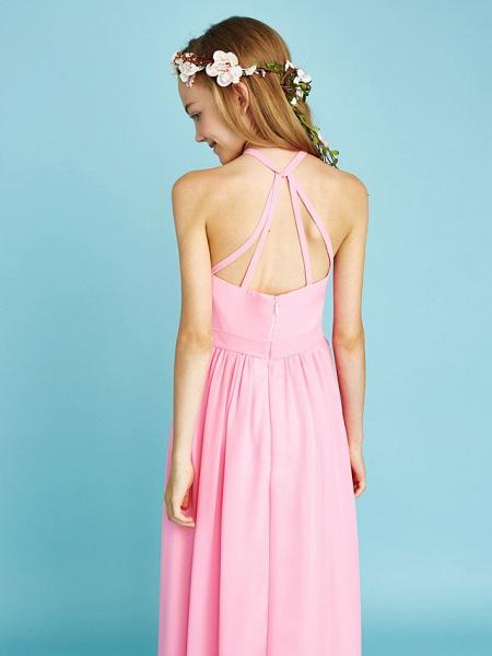 A-Line Halter Neck Floor Length Chiffon Junior Bridesmaid Dress With Sash / Ribbon / Natural_8