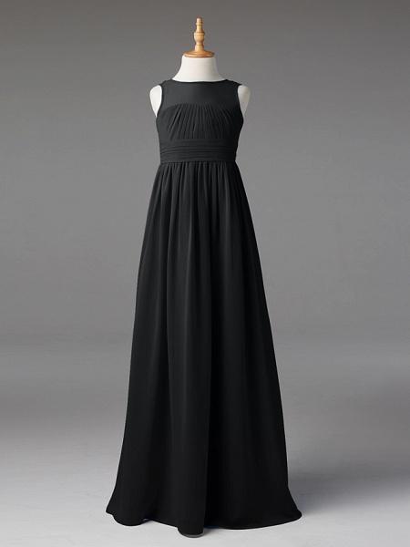 Princess / A-Line Jewel Neck Floor Length Chiffon Junior Bridesmaid Dress With Sash / Ribbon / Pleats_33
