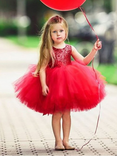Ball Gown Knee Length Wedding / Party Flower Girl Dresses - Tulle Sleeveless Jewel Neck With Paillette_1