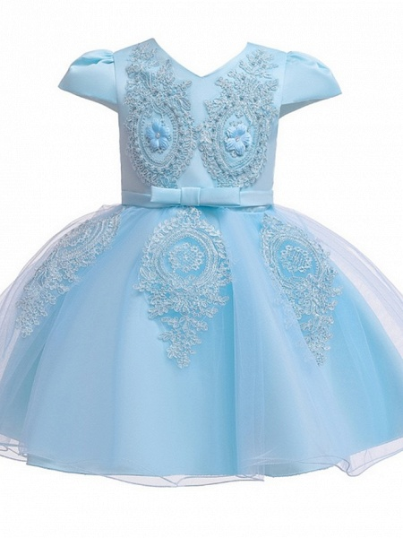 Princess / Ball Gown Knee Length Wedding / Party Flower Girl Dresses - Tulle Short Sleeve V Neck With Sash / Ribbon / Bow(S) / Appliques_5