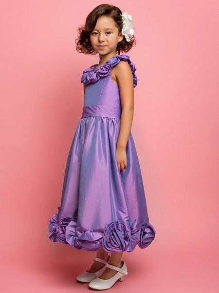 Princess / A-Line Tea Length Taffeta Sleeveless Spaghetti Strap With Sash / Ribbon / Flower_2