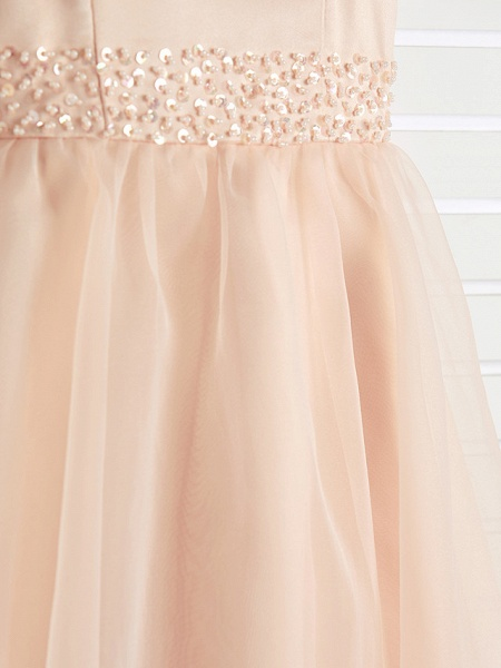 A-Line Jewel Neck Ankle Length Organza / Satin Junior Bridesmaid Dress With Beading / Tier_7