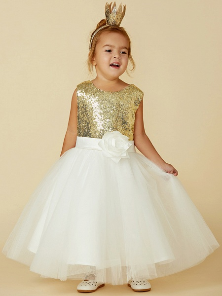 Princess Knee Length Pageant Flower Girl Dresses - Tulle / Sequined Sleeveless Jewel Neck With Sash / Ribbon / Bow(S) / Flower_4