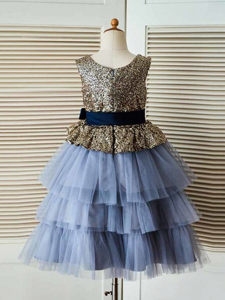 Ball Gown Tea Length Pageant Flower Girl Dresses - Tulle / Sequined Sleeveless Jewel Neck With Sash / Ribbon_2