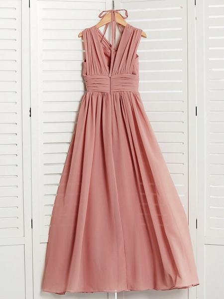 A-Line V Neck Maxi Chiffon Junior Bridesmaid Dress With Pleats / Ruching_2