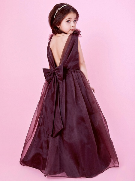 Princess / A-Line Floor Length Wedding Party Organza / Satin Sleeveless Jewel Neck With Bow(S) / Draping / Flower / Spring / Fall / Winter_4