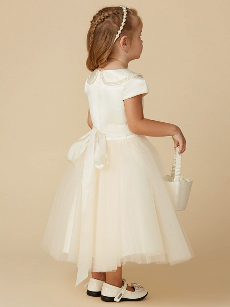 Ball Gown Tea Length Pageant Flower Girl Dresses - Satin / Tulle Short Sleeve Jewel Neck With Pearls / Beading_2