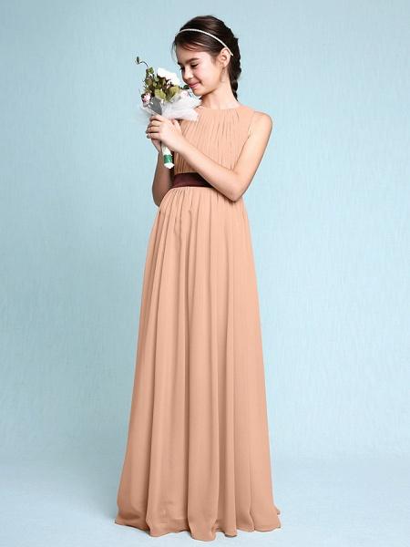 Sheath / Column Scoop Neck Floor Length Chiffon Junior Bridesmaid Dress With Draping / Natural_13