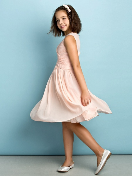 A-Line Jewel Neck Knee Length Chiffon Junior Bridesmaid Dress With Criss Cross / Natural / Mini Me_7