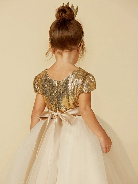 Princess Floor Length Wedding / Party / Pageant Flower Girl Dresses - Tulle / Sequined Short Sleeve Jewel Neck With Sash / Ribbon / Sequin_8