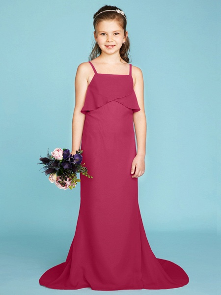 Sheath / Column Spaghetti Strap Sweep / Brush Train Chiffon Junior Bridesmaid Dress With Tiered / Wedding Party / Open Back_26