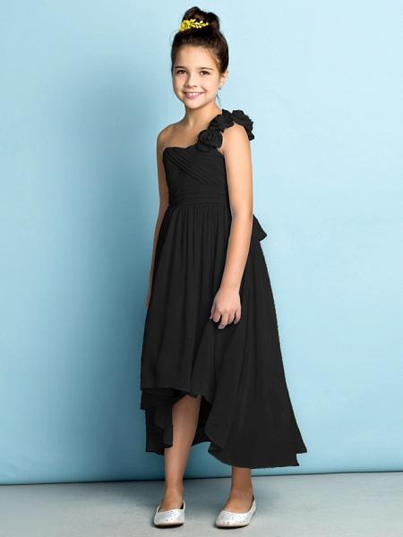 A-Line One Shoulder Asymmetrical Chiffon Junior Bridesmaid Dress With Criss Cross / Flower / Natural / Mini Me_42