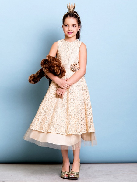 A-Line Jewel Neck Tea Length All Over Floral Lace Junior Bridesmaid Dress With Sash / Ribbon / Bow(S) / Flower / Natural_5