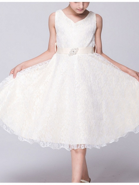 A-Line V Neck Knee Length Lace Junior Bridesmaid Dress With Sash / Ribbon_9