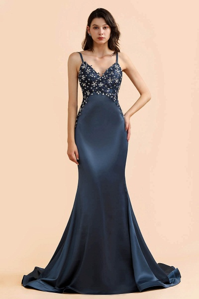 Spaghetti Strap Beaded Navy Blue Mermaid Backless Prom Dress