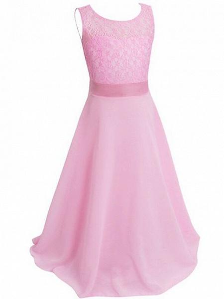A-Line Floor Length Wedding / Party Flower Girl Dresses - Chiffon / Lace Sleeveless Jewel Neck With Sash / Ribbon_11