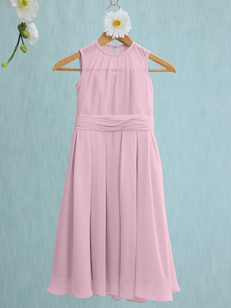 Sheath / Column Jewel Neck Knee Length Chiffon Junior Bridesmaid Dress With Ruched / Natural_8
