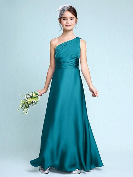 Sheath / Column One Shoulder Floor Length Chiffon Satin Junior Bridesmaid Dress With Ruched / Side Draping / Natural_28