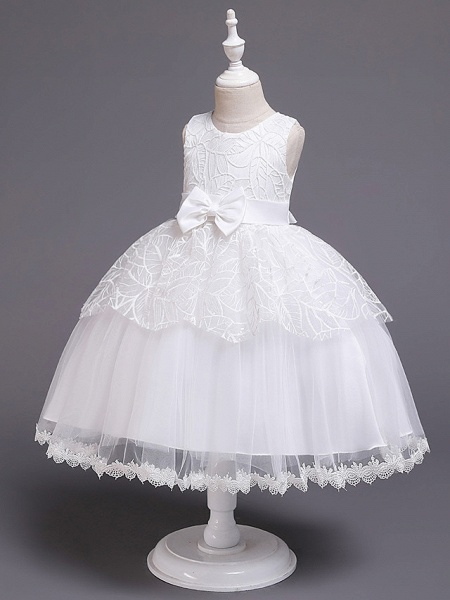 Princess Midi Wedding / First Communion / Birthday Flower Girl Dresses - Satin / Tulle Sleeveless Jewel Neck With Bow(S) / Embroidery / Paillette_2