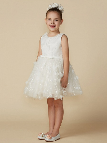 Princess Short Length Wedding / First Communion Lace Sleeveless Jewel Neck With Belt / Bow(S)_3