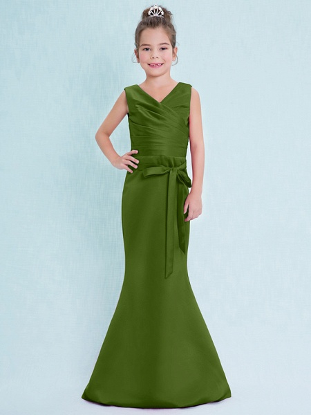Mermaid / Trumpet V Neck Floor Length Satin Junior Bridesmaid Dress With Criss Cross / Natural_41