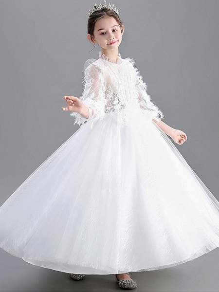 Ball Gown Floor Length Wedding / Party Flower Girl Dresses - Lace / Tulle Long Sleeve Jewel Neck With Appliques_4