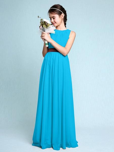 Sheath / Column Scoop Neck Floor Length Chiffon Junior Bridesmaid Dress With Draping / Natural_33