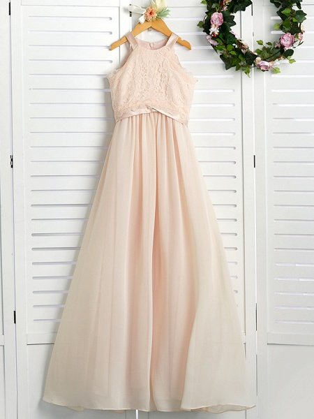 A-Line Crew Neck Floor Length Chiffon / Lace Junior Bridesmaid Dress With Lace / Sash / Ribbon_1