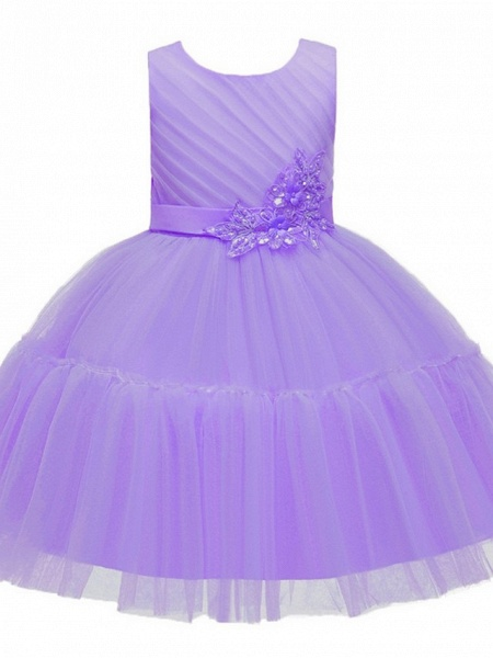 Princess / Ball Gown Knee Length Wedding / Party Flower Girl Dresses - Tulle Sleeveless Jewel Neck With Sash / Ribbon / Bow(S) / Appliques_8