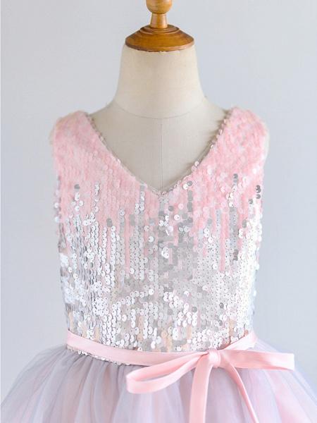 Ball Gown Knee Length Wedding / Birthday / Pageant Flower Girl Dresses - Tulle / Sequined Sleeveless V Neck With Belt_3