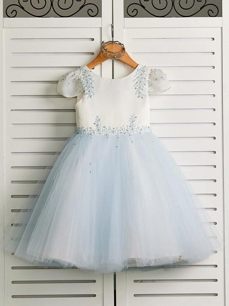 Princess Tea Length Wedding / Birthday / Pageant Flower Girl Dresses - Satin / Tulle Cap Sleeve Jewel Neck With Beading_1