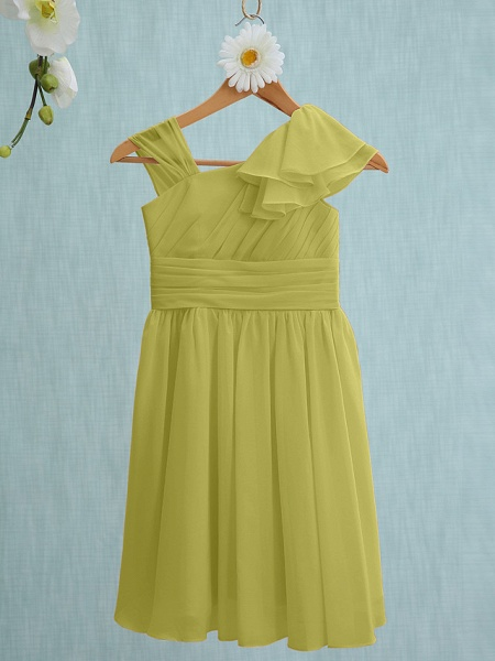Sheath / Column Straps Knee Length Chiffon Junior Bridesmaid Dress With Ruffles / Side Draping / Natural_17
